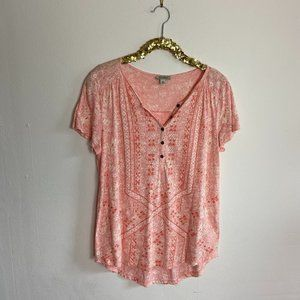 Lucky Brand Pink Patterned Top Blouse Size Medium